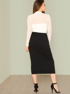 d114cc2bd1 Falda ajustada de canalé con perla de talla grande-Spanish SheIn(Sheinside)