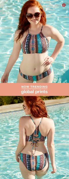 Cool prints in earthy shades are popping up all over this season. And this bikini's sporty-chic cut with a high neck and lace-up details has fun in the sun written all over it.
