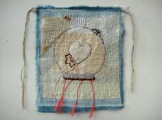 "Vision - ""a small cloth (a study for a larger one). hand stitched. linen ,cotton, silk fringe.
