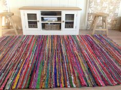 Shabby Chic Vintage Small Round Multi Colored Hand Made Rag Rug Rounding And