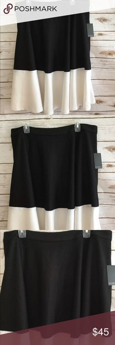 NWT Eloquii White / Black Colorblock Midi Skirt Brand new; never worn Excellent Condition Smoke & Pet Free Home Ships within one day of payment  Thank you for looking Feel free to check out my other items Eloquii Skirts Circle & Skater