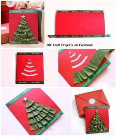 Simple DIY Christmas Cards Design to Given for Your friends Homemade Christmas Cards, Christmas Tree Cards, Homemade Cards, Handmade Christmas, Christmas Time, Christmas Decorations, Xmas Tree, Christmas Ideas, Tarjetas Diy