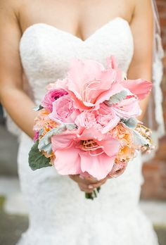 Summer wedding bouquet idea - pink amaryllis with peonies + roses {Jennifer Boyle Photography} Wedding Flower Photos, White Wedding Bouquets, Wedding Flower Arrangements, Bridal Flowers, Flower Bouquet Wedding, Rose Wedding, Bridesmaid Bouquet, Floral Wedding, Summer Wedding