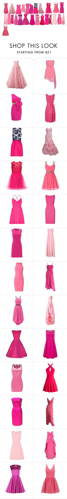 """Hannah's pink dresses"" by abuffaloe on Polyvore featuring Zuhair Murad, Noshua, Notte by Marchesa, Precis Petite, Mary Katrantzou, Monique Lhuillier, River Island, Adrianna Papell, Diane Von Furstenberg and Alice & You"