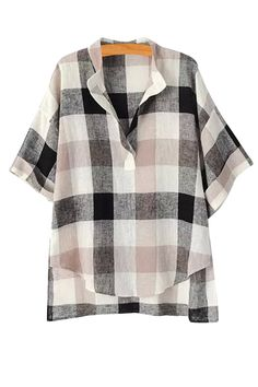 Plaid High Low Short Sleeve Shirt: Blouses | ZAFUL