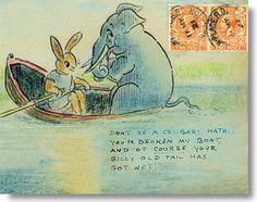 "Sir Henry Thornhill (""Kaka""), illustrated envelope 1920s: Hathi breaks the boat, time for a diet!"