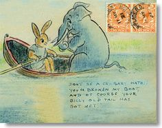 "Sir Henry Thornhill (""Kaka""), illustrated envelope 1920s: Hathi breaks the boat, time for a diet!"