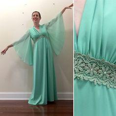 70's aqua blue maxi dress angel wings medium
