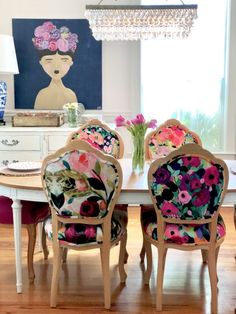 French Bohemian Dining Chairs Set of 4 - Boho-Chic Decor. French Dining Chairs, Dining Chair Set, Dining Chair Makeover, Dining Sets, Reupholster Dining Room Chairs, Colored Dining Chairs, Antique Dining Chairs, Mismatched Dining Chairs, Upholstered Dining Chairs