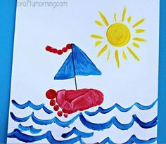 Fun and Beautiful Handprint & Footprint Crafts for Your Kids to Make This Summer Footprint Sailboat Craft for Kids to Make.Footprint Sailboat Craft for Kids to Make. Kids Crafts, Summer Crafts For Toddlers, Boat Crafts, Daycare Crafts, Crafts For Kids To Make, Toddler Crafts, Art For Kids, Daycare Rooms, Creative Crafts