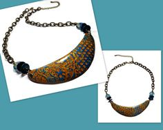 Boho Bib Necklace polymer clay Necklace Ready to by BeadazzleMe