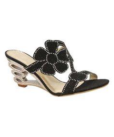 Look at this #zulilyfind! Black Rhinestone Sandal #zulilyfinds