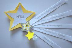 Menu étoile gris jaune - baptême, anniversaire, communion, mariage : Autres papeterie par tresors-d-enfance