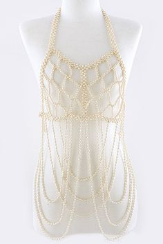 ༻⚜༺ ❤️ ༻⚜༺ PEARL BALL ENCRUSTED TIERED BODY CHAIN ༻⚜༺ ❤️ ༻⚜༺