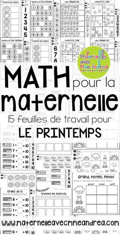 15 Spring themed, cut-and-paste, no-prep math worksheets en français! Perfect for substitutes or to French Teaching Resources, Teaching French, Teaching Tools, French Worksheets, Math Worksheets, Preschool Math Games, Toddler Activities, French Numbers, French Alphabet