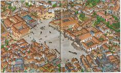 Rossio avant le tremblement de terre de 1755. Portugal. Luís Diferr