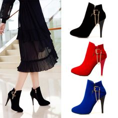 Women Ladies High Stiletto Heel Wedding Bridal Ankle Boots Metal Chain Zip Buckl in Clothing, Shoes & Accessories, Women's Shoes, Boots Best Looking Shoes, How To Stretch Shoes, Giuseppe Zanotti Heels, Martin Boots, Wedding Heels, High Heels Stilettos, Womens High Heels, Affordable Fashion, Over The Knee Boots