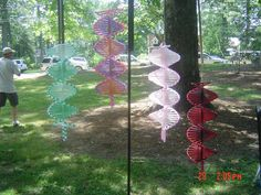 Wind Spinner made with plastic canvas and beads by pambarfield