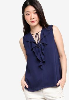 Collection Ruffle Top from ZALORA in navy_1
