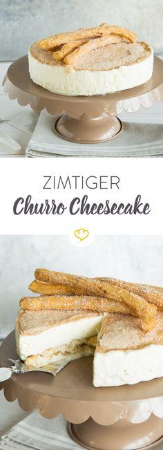 Warum nur eins, wenn du beides haben kannst? Hier vereinigen sich mexikanische Churros und cremiger Cheesecake zum genialen Dessert-Kuchen.