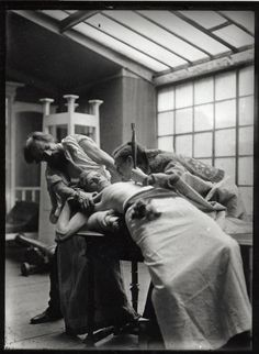 Alphonse Mucha with models posing as struggling figures for 'The Introduction of the Slavonic Liturgy' (The Slav Epic cycle No.3, 1912) (1911-1912)