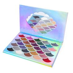 The Original Mermaid Glitter Eyeshadow. A combination of 32 shimmery, pressed glitter, and matte shades. Great gift for mermaid lovers. Glitter Eyebrows, Glitter Hair, Glitter Boots, Glitter Eyeshadow Palette, Blending Eyeshadow, Makeup Kit, Eye Makeup, Makeup Pallets, Glitter Fashion
