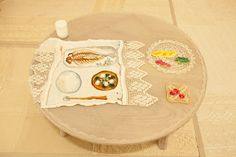embroidery on the table