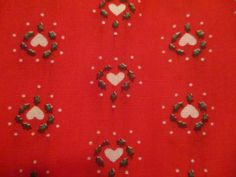 Vintage Cotton Poly Fabric Material Small White Hearts On Red 44 x 2 yards #unbranded