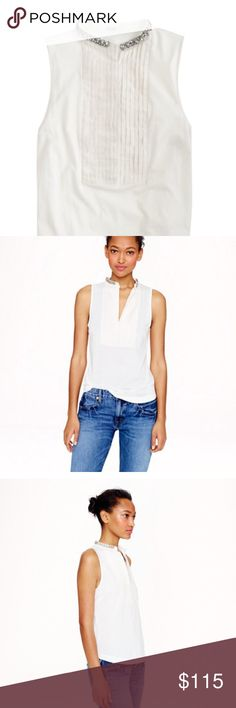 J Crew Jeweled Tuxedo Tank This shirt is a lightweight cotton with a jeweled rhinestone collar! Perfect way to dress up a tank! J. Crew Tops Tank Tops