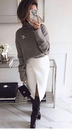 Grey sweater and white skirt for office - Herren- und Damenmode - Kleidung Work Fashion, Trendy Fashion, Winter Fashion, Fashion Looks, Womens Fashion, Fashion Trends, Fashion Fashion, Fashion Ideas, Fashion Stores