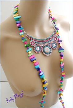 Collier-plastron et sautoir multicolores - Céramique, Perles, Nacre : Collier par ladyplazza