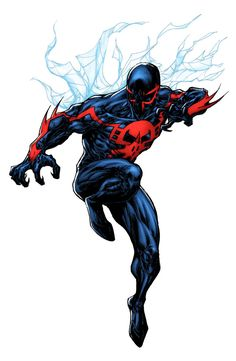 Terrific color version by talented Spider-Man 2099 - Lummage colors Comic Book Characters, Marvel Characters, Comic Character, Comic Books Art, Comic Art, Spiderman 4, Spiderman Kunst, Amazing Spiderman, Marvel Vs