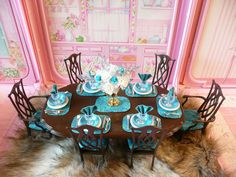 OOAK BARBIE DINING ROOM HOUSE FURNITURE LOT CHAIRS FLOWERS RUG DIORAMA | eBay 1:6th scale