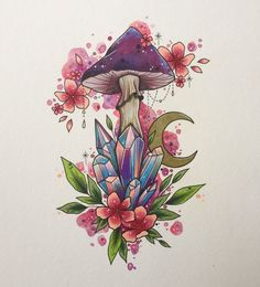 COLOUR. Toadstool tattoo print. Lorna Laine. Watercolour. 2018 Art Inspo, Kunst Inspo, Art Inspiration Drawing, Design Inspiration, Kunst Tattoos, Tattoo Drawings, Art Drawings, Tattoo Art, Tattoo Fonts