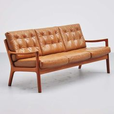 Ole Wanscher; Teak and Leather 'Senator' Sofa for France & Son, 1951.