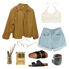 """""""Morning routine// art hoe"""" by molawho ❤ liked on Polyvore featuring Coldwater Creek, Victoria's Secret, Birkenstock, Valentino and plus size clothing"""