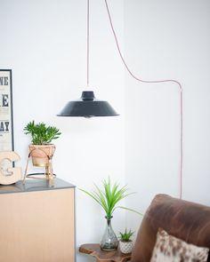 Industrial Plug & Hang Pendant Light (Black)