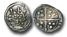 Edward IV (1461-1483), Penny, 0.50g., Light Cross and Pellets Coinage (c.1470-78), Dublin mint, crowned facing bust of Edward, saltires at neck, saltire above crown to right, rev., plain long cross, (S.6363; JBurns Du-15 (type 15) plate coin), good very fine.