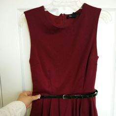 Forever 21 maroon peplum dress Comes with patent leather belt. Used a total of 3x lol so still in great condition. Great for business casual or business dinners. Forever 21 Dresses Midi