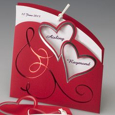red and purple wedding invitation