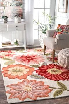 Rugs USA Pink Fergana rug - Country & Floral Rectangle x Pavillion, Coastal Living Rooms, Rugs Usa, Contemporary Rugs, Family Room, Area Rugs, Sweet Home, Bedroom Decor, Floral