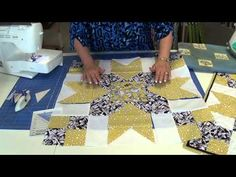 Stepping Stones Table Topper - I want to do this in 4th of July colors using the Missouri Star techniques for disappearing 9 patch and flying geese