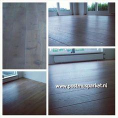 Als ik een nieuwe houten vloer moest kopen, dan werd het deze. Eiken multiplank geschuurd geolied met Monocoat Sky Grey in Heerenveen