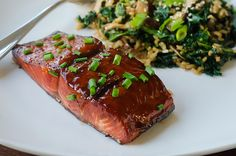 Teriyaki Salmon - love this salmon recipe. Salmon is marinated for a least an hour in a teriyaki sauce w/honey, lemon, ginger, & cilantro - then baked under the broiler.