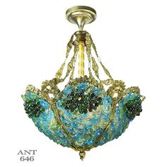 Antique Bohemian Bowl Chandelier Blue Green Glass by DecoLighting