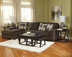 Contemporary Chocolate Sofa with Chaise