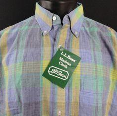 NWT LL Bean Mens L Tall Indian Madras Shirt SS Plaid Blue/Green/Yellow Button Up #LLBean #ButtonFront
