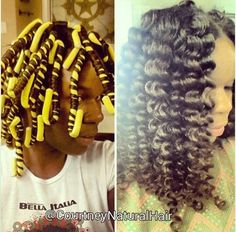 #NaturalHair styles roll hair around rod instead of rolling rod up to head