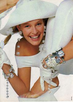 """""""A La Folie"""", Elle France, March 1987 Photographer: Bill King Model: Estelle Lefebure"""