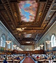 The New York Public Library Main Branch Building is one of the world's most recognizable libraries, with its iconic stone lions (named Patience and Fortitude)  guarding the entrance. The Library's famous Rose Main Reading Room, shown above, has 52-foot-high ceilings.